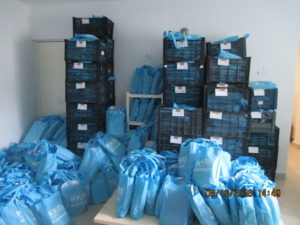 Mountains of filled KKIS bags for the kids of Playa del Carmen